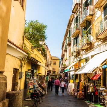 Pizza in narrow streets of Italy